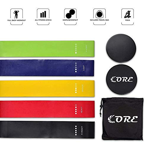 CORE Exercise Natural Latex Exercise Resistance Loop Bands and Core Sliders Set, 5 Level Fitness Loops and Professional Gliding Discs, Abs, 80 Day Obession, Abdominal (Black+Resistance Loop Bands)
