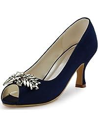 Women Peep Toe Pumps Leaf Rhinestones Comfort Heel Satin...