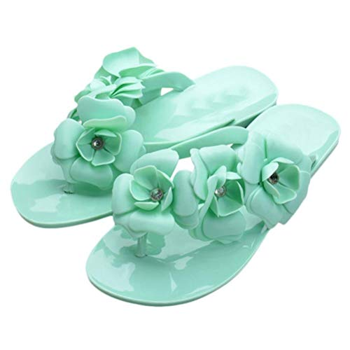 Shoes Boho Flat Beach Flip Summer Femal Sandals Flower Green Slippers Women's Heel Flops Hunputa x67XAZqq