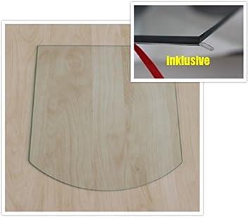 Segmentbogen 100x110cm Klarglas - Segmentbogen 100x110cm - ohne Dichtung Funkenschutzplatte Kaminbodenplatte Glasplatte f.Ofen