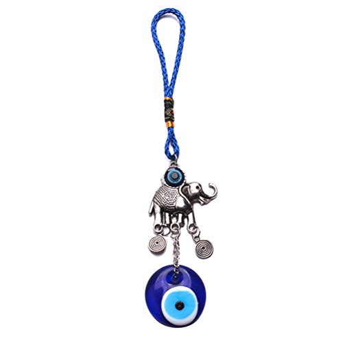 Afco Turkish Blue Evil Eye Keychain Car Keyring Hamsa Hand Elephant Pendant Bag Charm (3#)