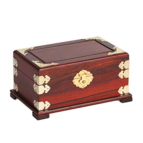 ZBXZM Jewellery Box, Solid Wood Carving Storage Box Antique Jade Organizer Box Red Rosewood Treasure Chest