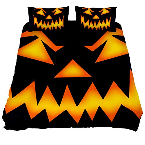 LORVIES Scary Halloween Face Duvet Cover Set, 3 Pieces - Microfiber Comforter Quilt Bedding Cover with Zipper, Ties, Decorative Bedding Sets with Pillow Shams for Men Women Boys Girls Kids Teens ()