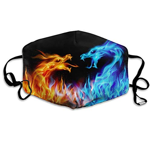 - BLongTai Mouth Cover Mask Red and Blue Dragon Flame Fashion Anti Dust Half Face Masks