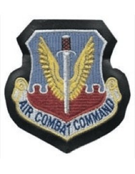 AF-P01D, Air Combat Command, Full Color on Black Leather w/Fastener USAF PATCHES (Command Patch Combat Air)