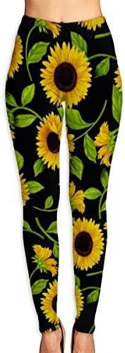 美しいひまわり 吸汗速乾 UVカット ヨガウェア レディース スポーツレギンス 柄パンツ