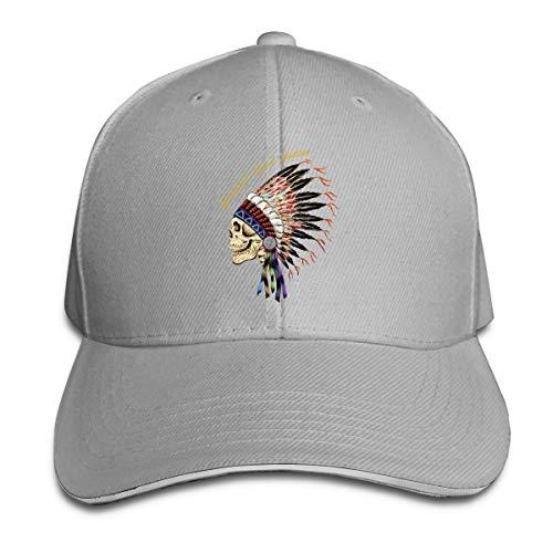 Corrine-S Grateful Dead Indian Outdoor Camping Cotton Caps Hats Adjustable Gray ()