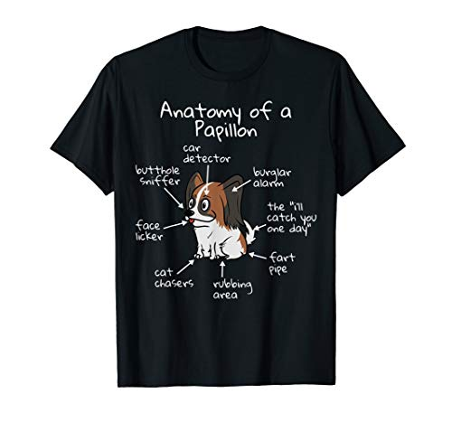 Funny The Anatomy of a Papillon T-Shirt Dog Tee