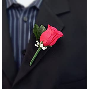 Boutonniere - Hot Pink Rose Boutonniere with Baby Breath 9