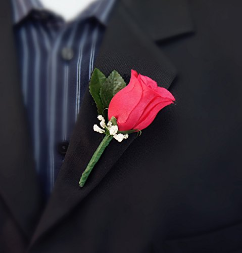 Boutonniere - Hot Pink Rose Boutonniere with Baby Breath