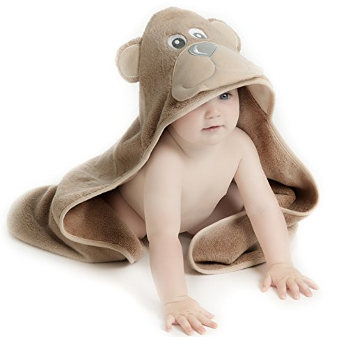 Little Tinkers World Bear Hooded Baby Towel, Natural Cotton, Large 30x30-Inch size by Little Tinkers World