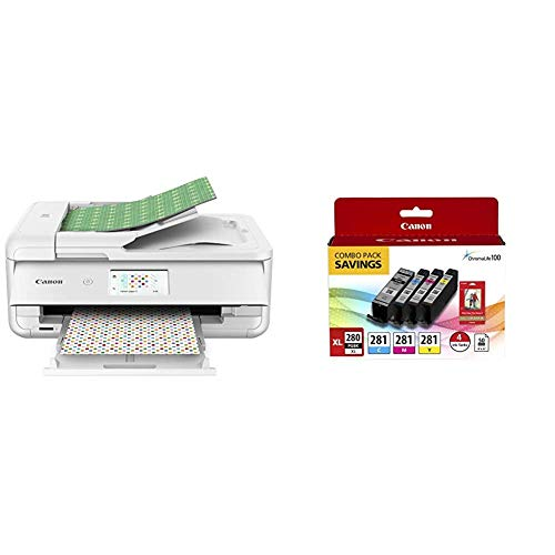 Canon TS9521C Wireless Crafting Printer, 12X12 Printing, White with Printer Ink