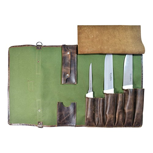 Durable Water Resistant Canvas Knife Roll (8 pockets) Handmade by Hide  Drink :: Olive