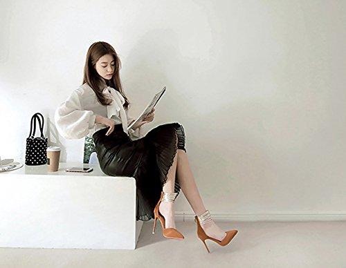 Bininbox Dames Elegante Metalen Voetring Spitse Stiletto Hoge Hakken Tan