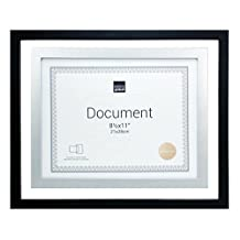 Kiera Grace City Float Document Frame, 11-Inch by 14-Inch Matted For 8.5 by 11-Inch, Black with Silver Accents