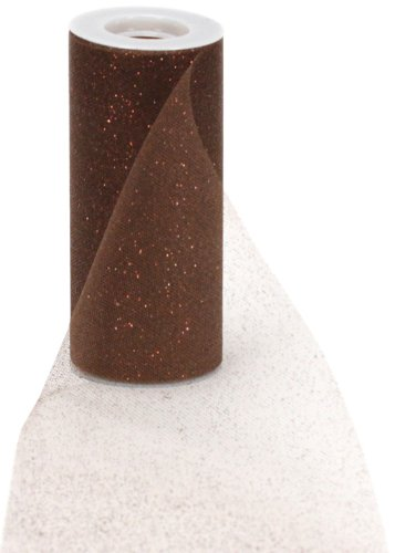 Offray Sparkle Tulle Craft Ribbon, 6-Inch by 25-Yard Spool, Chocolate