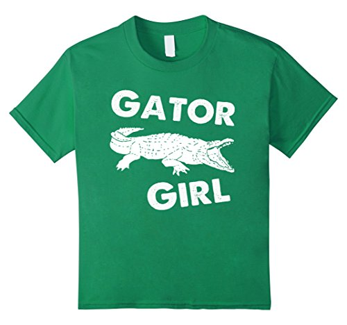 Kids Gator Girl Alligator Shirt, Crocodile Swamp Reptile Love Tee 8 Kelly (Alligator Youth T-shirt)