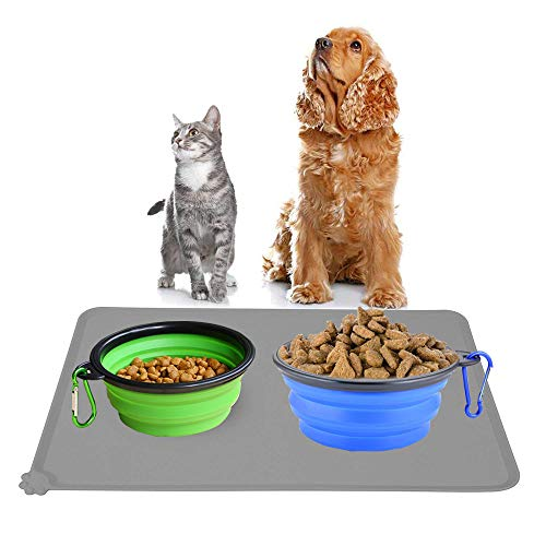 liansheng Folding Dog Bowl Pet Mat Silicone Mat Non-Slip Out of Pocket Waterproof Pet Food Mats Tray by liansheng