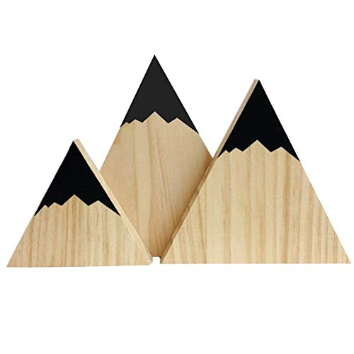 Wingbind Mountain Style Triangle Shaped Blocks,Nordic Style Wooden Handmade Craft,Home Bedroom/Party/Wedding/Birthday/Nursery/Cradle/Baby Shower Decoration