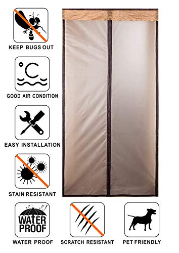 Liveinu Magnetic Thermal Insulated Door Curtain for Air Conditioner Room/Kitchen Magnetic Screen Door with Thermal and Insulated Energy Loss Reduce Noise Coffee 29x78 Inch