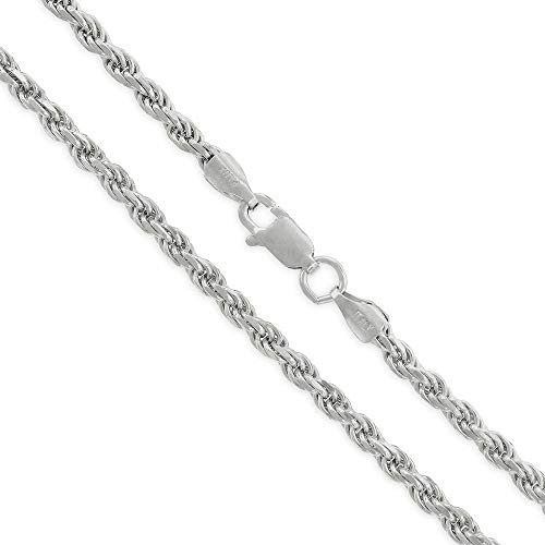 (Authentic Solid Sterling Silver Rope Diamond-Cut Braided Twist Link .925 Rhodium Necklace Chains 1.5MM - 5.5MM, 16