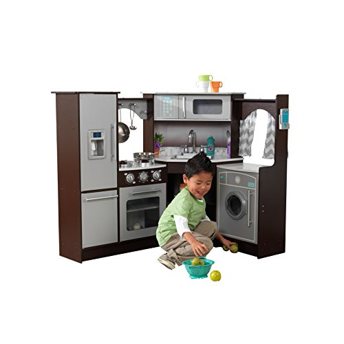 - KidKraft Ultimate Corner Play Kitchen with Lights & Sounds, Brown/White