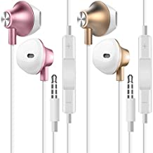 2 Packs Earbud Headphone 3.5mm, AFUNTA Stereo In-Ear Earphone with Volume Control Microphone Noise Isolating for Cell Phone Laptop PC Tablet iPhone Samsung Sony iPad - Gold, Rose Gold