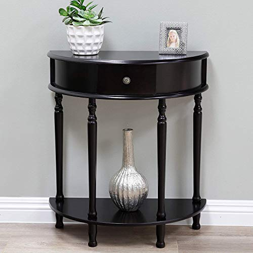 Half Moon Shape Hall Entryway Table, Small Semi Round Console Table with Drawer and Bottom Shelf, Narrow End Table, Sleek,Modern, Unique, Contemporary Design for Living Room, Brown