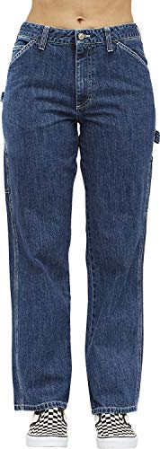 Dickies Girl Juniors' Relaxed Fit High-Rise Carpenter Jeans (Medium Wash, 9) -