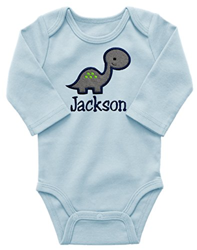 Personalized Embroidered Dinosaur Onesie Bodysuit For Baby Boys - Your Custom Name! (3-6 Months, Blue Long Sleeve) ()