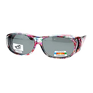 Polarized Sunglasses Fit Over Glasses Oval Rectangular OTG Anti-Glare (floral, black)