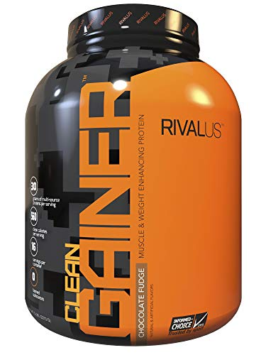 Rivalus Clean Gainer - Chocolate 5lb - Delicious Lean Mass Gainer with Premium Dairy Proteins, Complex Carbohydrates, and Quality Lipids, No Banned Substances, Made in USA.