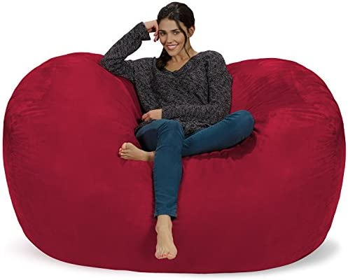 Chill Sack Bean Bag Chair Huge 6 Memory Foam Furniture Bag and Large Lounger – Big Sofa with Soft Micro Fiber Cover – Cinnabar