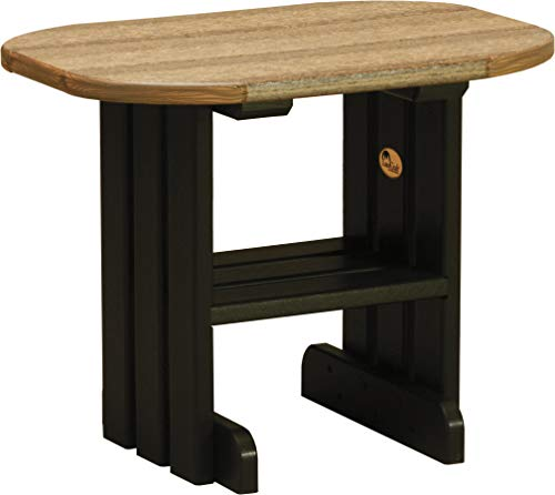 (LuxCraft Poly Lumber Patio End Table with Shelf, Antique Mahogany & Black)