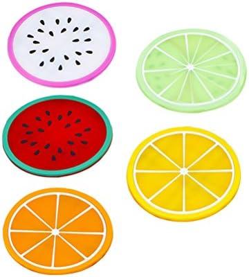 5 Piezas OUNONA Posavasos Salvamanteles de Silicona Antideslizantes Fruta colorida