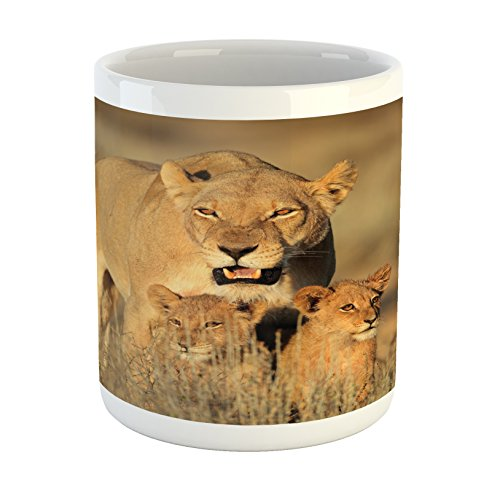 Ambesonne Safari Mug, Mom Lioness and Young Lion Kings in South African Nature Big Cats at Wilderness Safari, Printed Ceramic Coffee Mug Water Tea Drinks Cup, Cream (Lion Lioness)
