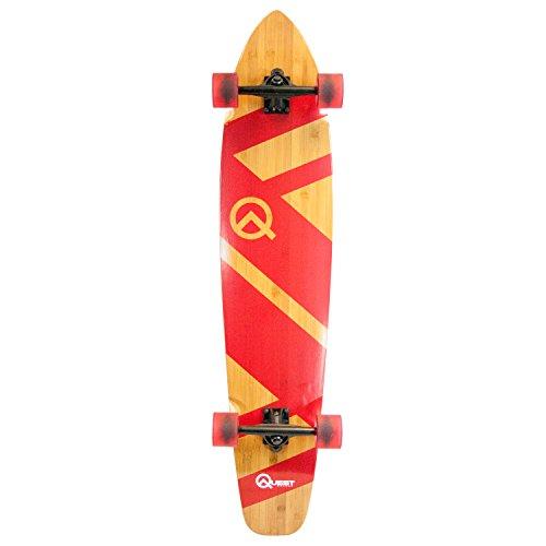 Quest Skateboards Super Cruiser Crimson Bamboo & Maple Skateboard, Red, 44