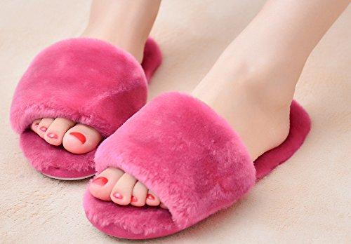 Pantuflas De Color Puro Para Mujer De Terciopelo Abierto Zapatillas De Casa Suaves Color Rosa Rojo