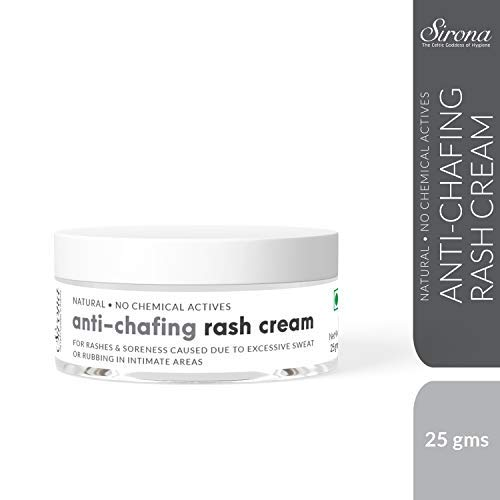 Heating Pad Moisturizing Moisturizer - Sirona Natural Anti Chafing Rash Cream- 5 Magical Herbs - Help in Soothing Rashes Due to Pads, Heavy Thighs, Chaffing Due to Sports Activities - 25 Gm