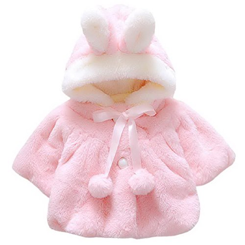 Baby Girls Fur Fleece Pageant Coat Winter Warm Jacket Hoodie Outerwear Xmas Snowsuit for 1-6 Months Pink