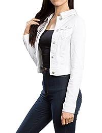 Womens Long-Sleeve Distressed Button Up Denim Jean Jacket Regular & Plus Size