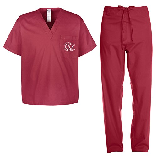 Custom Kamal Ohava Adult Monogram Medical Scrubs Set, XX-Large, Wine (Wine Standard Monogram)