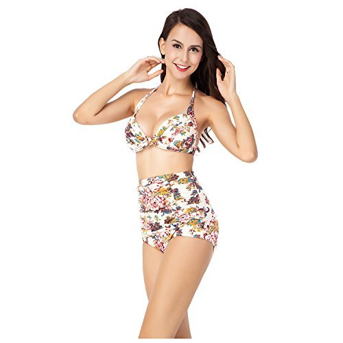 Women Swimsuits - iCharmore Two Pieces Swimwear Vintage Floral High Waist Bikini Set (2XL, Beige)