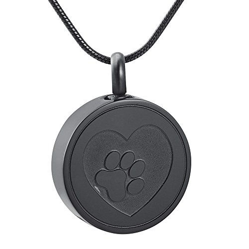 - Pet Paw Print Heart Cremation Urn Locket Necklace Hold Dog/Cat Ashes Casket Keepsake Jewelry (Black)