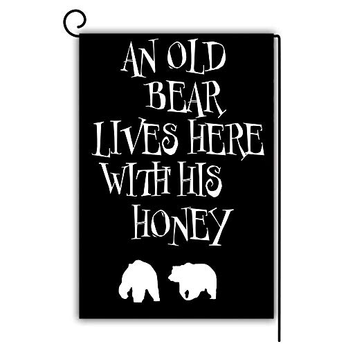 (seiruh Bear Garden Flag Decorative House Yard Flag Double Sided Flags Outdoors Lawn Weatherproof Polyester Fabric 12 inch x 18 inch - an Old Bear Lives Here with His Honey)