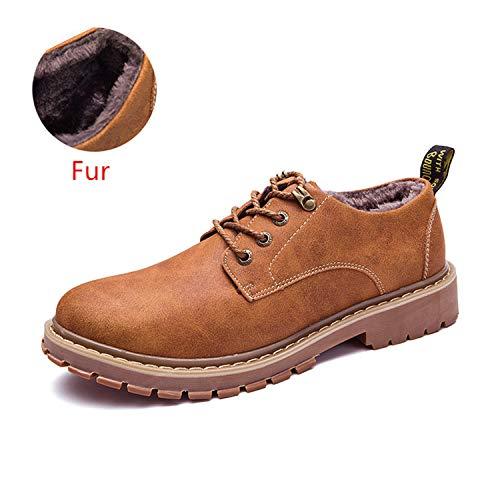 SincerityS Shoes Autumn Winter for Men Adult Work Walking Footwear Man Fur Light Brown 6