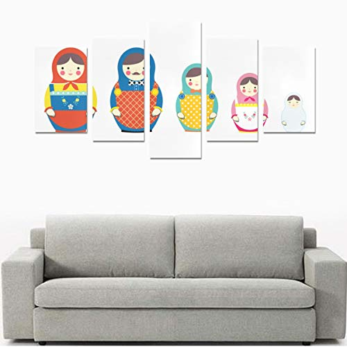- HYTCSY Wall Art Kids Cafe Wall Art Set of Russian Nesting Dolls No Frame 5 Pieces Paintings Posters Prints On Canvas Hang for Bedroom Home Office Wall Decor
