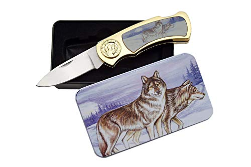 SZCO Supplies Wolf and Moon Tin Gift Box Knife
