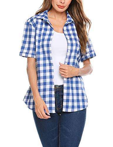 SUNAELIA Womens Plaid Flannel Shirt Short Sleeve Boyfriend Button Down Cotton Casual Blouse Check Gingham Top S-XXL