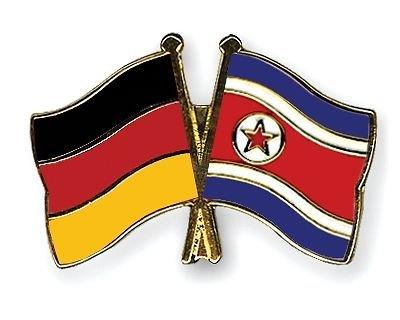 Allemagne & drapeaux Corée du Nord d'amitié Pin's (épinglette Badge en émail plaqué or